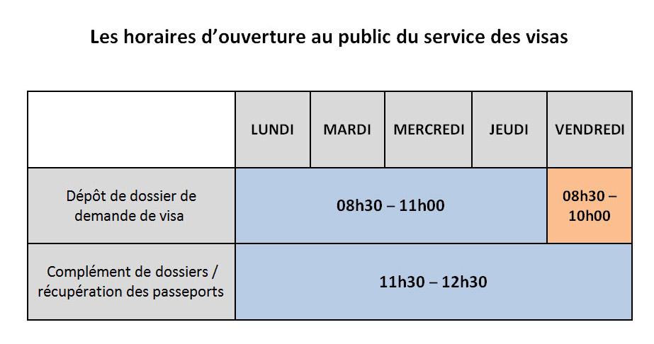 Horaires Douverture Au Public Du Service Des Visas